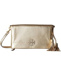 74c3bff312d Lyst - Tory Burch Perforated Logo Fold-over Crossbody in Red
