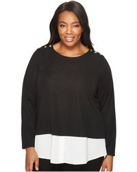 Calvin Klein - Plus Size Textured Twofer Top With Buttons - Lyst