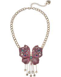 Betsey Johnson - Pink Glitter Butterfly Pendant Necklace - Lyst