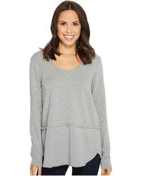 Mod-o-doc - Cotton Modal Fleece Rounded Hem Long Sleeve Pullover - Lyst