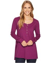 Mod-o-doc - Deluxe Jersey Long Sleeve Henley Tunic With Side Slits - Lyst