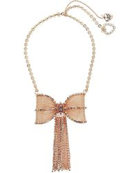 Betsey Johnson - Rose Gold Pave Fringed Bow Necklace - Lyst