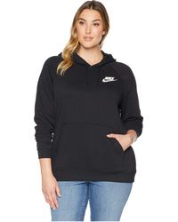 d9270b89668a Lyst - Nike Rally Funnel Neck Fleece Pullover in Black