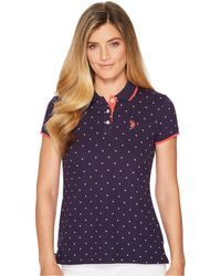 U.S. POLO ASSN. - Stretch Pique Dot Print Polo Shirt - Lyst