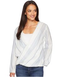 Dylan By True Grit - Maddy Chambray Stripe Long Sleeve Wrap Blouse - Lyst