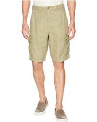 True Grit - Textured Linen Vintage Washed Cargo Shorts With Stitch Details - Lyst