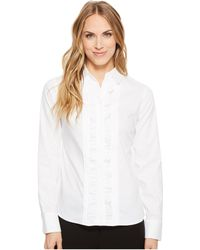 Tommy Hilfiger - Long Sleeve Woven Button Down With Ruffle Front - Lyst