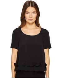 Boutique Moschino - Crepe De Chine Short Sleeve Ruffle Blouse - Lyst