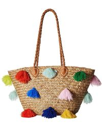 San Diego Hat Company - Bsb1566 Seagrass Tote With Multicolored Poms And Pleather Handle - Lyst