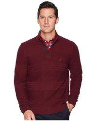 74fcc0b5 Nautica - 9 Gauge Link Texture 1/4 Zip (royal Burgundy) Sweater -