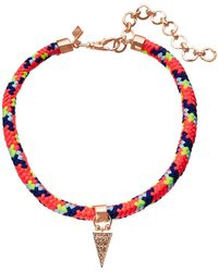 Rebecca Minkoff - Climbing Rope Choker Necklace With Charm Drop - Lyst