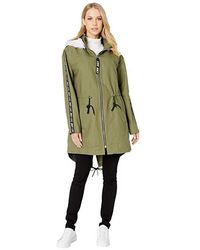 Juicy Couture - Long Parka With Faux Fur Hood (dusty Olive) Clothing - Lyst