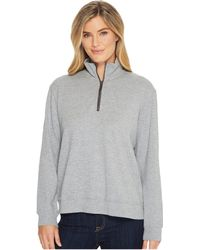 Mod-o-doc - Heather Slub Rib 1/2 Zip Funnel Pullover - Lyst