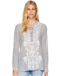 Dylan By True Grit - Artisan Lace-up Stripe Long Sleeve Blouse With White Embroidery - Lyst