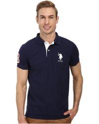 Slim Fit Big Horse Polo W/ Stripe Collar - Lyst