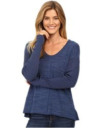 Mod-o-doc - Heavenly Jersey Raw Edge Side Vented Pullover W/ Rib Sleeve - Lyst