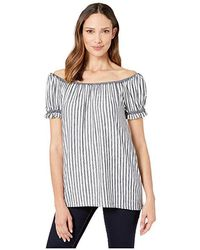 a89a386d034b Max Studio - End On End Stripe Off-the-shoulder Top (ivory/