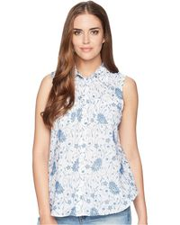Chaps - Floral-embroidered Sleeveless Shirt - Lyst