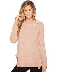 Ivanka Trump - Flower Applique Ruffle Hem Sweater - Lyst