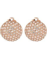 Nina - Medium Pave Button Clip Earrings; Elements By Swarovski - Lyst