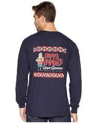 4f25d7fff7c620 Vineyard Vines Long Sleeve Bearded Santa Whale Pocket T-shirt in ...