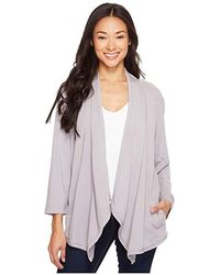 Mod-o-doc - Cotton Modal Spandex French Terry Open Front Cardigan (silver) Sweater - Lyst