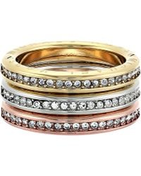 Michael Kors - Tri-tone And Pave Logo Grommet Stack Ring Set - Lyst