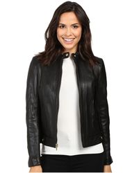 Cole Haan - Leather Racer Jacket With Quilted Panels - Lyst