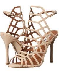 8713ff1f083 Lyst - Steve Madden Slithur Caged Heeled Sandal in White
