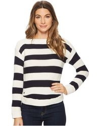 Lauren by Ralph Lauren - Striped Cotton Boat Neck Sweater - Lyst