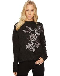 Blank NYC - Floral Embroidered Grey Sweater In Charcoal - Lyst