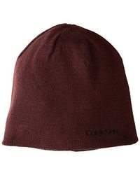 51bb97e6 Calvin Klein - Solid Reversible Hat (burgundy) Knit Hats - Lyst