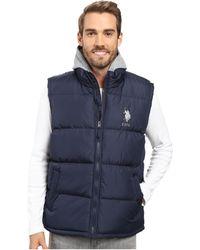 U.S. POLO ASSN. - Basic Puffer Vest With Fleece Hood - Lyst
