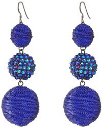 Kenneth Jay Lane - Triple Graduated Blue Ball Fish Hook Ear End Balls Thread Wrap/center Sparkle Wire Earrings - Lyst
