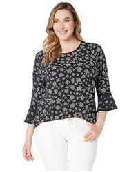 d549edfa68da33 MICHAEL Michael Kors - Plus Size Wildflower Mix Sleeve Top (black/white)  Clothing