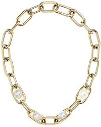Michael Kors - Pearl Link Collar Necklace - Lyst