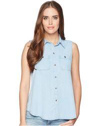 Chaps - Chambray Sleeveless Shirt - Lyst