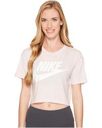 13fa2267a Lyst - Nike Sportswear Essential Cropped Top in Black