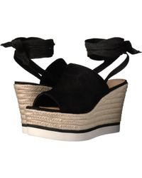 ad389b9c3a0 Lyst - Bcbgeneration Albaz Women Open Toe Suede Black Wedge Heel in ...