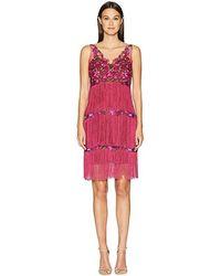 56b66b10 Marchesa notte - V-neck Embroidered Fringe Cocktail (berry) Dress - Lyst