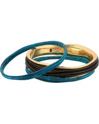 Robert Lee Morris - Green Patina And Brown Leather Bangle Set - Lyst