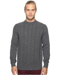 Ben Sherman - Long Sleeve Cable Front Crew Neck Sweater - Lyst