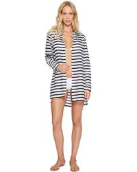 Lauren by Ralph Lauren | Stripe Crushed Cotton Camp Shirt Cover-up | Lyst