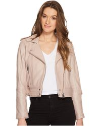 Blank NYC - Real Leather Moto Jacket In Rose Dust - Lyst
