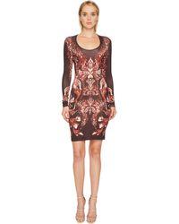 Just Cavalli - Plume Of Baroque Printed Long Sleeve Scoop Neck Dress - Lyst