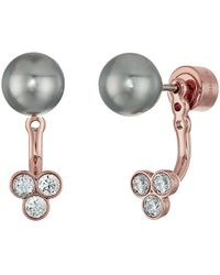 Michael Kors - Pearl Tone Crystal And Grey Pearl Front-back Stud Earrings - Lyst