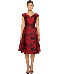 Zac Posen - Transparent Jacquard V-neck Short Sleeve Dress - Lyst