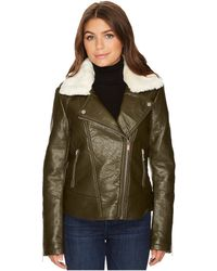 French Connection   Detachable Faux Fur Collar Pleather   Lyst