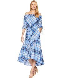 Lauren by Ralph Lauren - Plaid Off The Shoulder Dress - Lyst