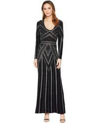 Marina - Long Sleeve V-neck Glitter Knit Gown - Lyst